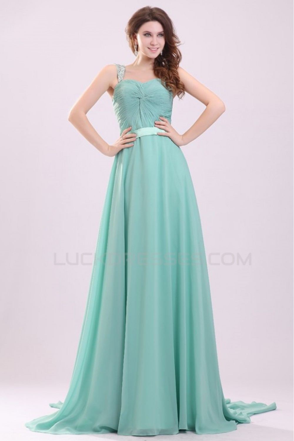 A-Line Beaded Straps Long Chiffon Prom Evening Formal Party Dresses ...