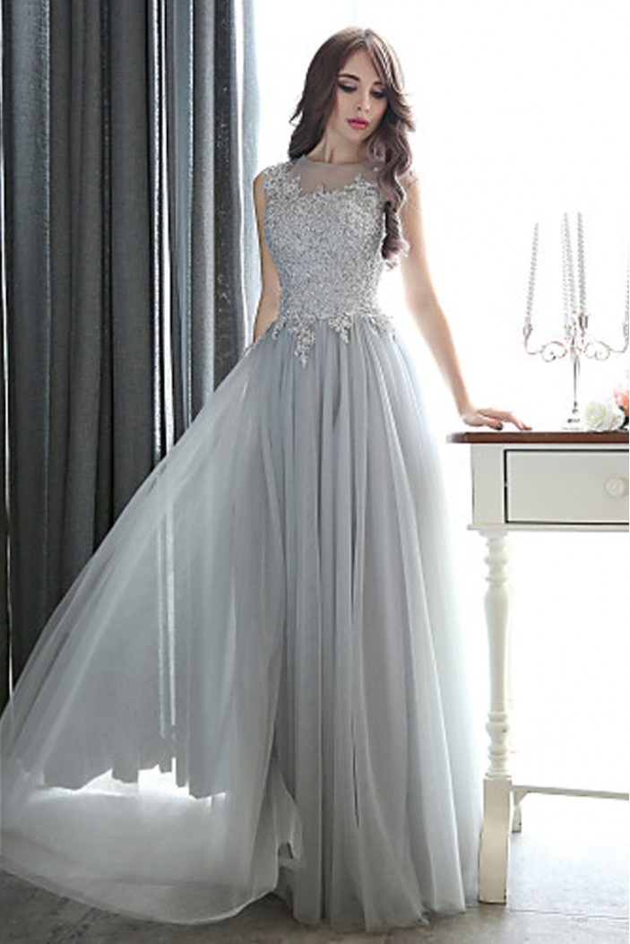 Formal Evening Black Tie Gala Dress Sheath Column Bateau Floor-length Tulle with Appliques Beading Dresses ED010068