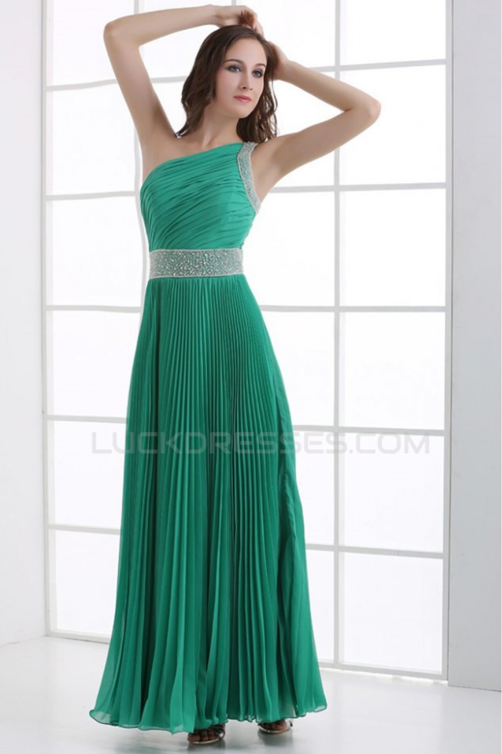 3790ddc499b4 A-Line One-Shoulder Beaded Pleated Long Green Chiffon Prom Evening Formal  Party Dresses ED010084