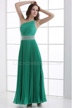 A-Line One-Shoulder Beaded Pleated Long Green Chiffon Prom Evening Formal Party Dresses ED010084