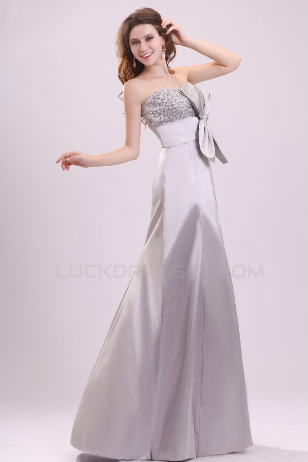 Long Silver Strapless Beaded Prom Evening Formal Party