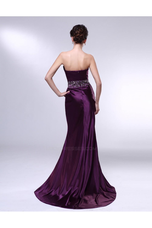 Trumpet Mermaid Strapless Beaded Long Purple Prom Evening