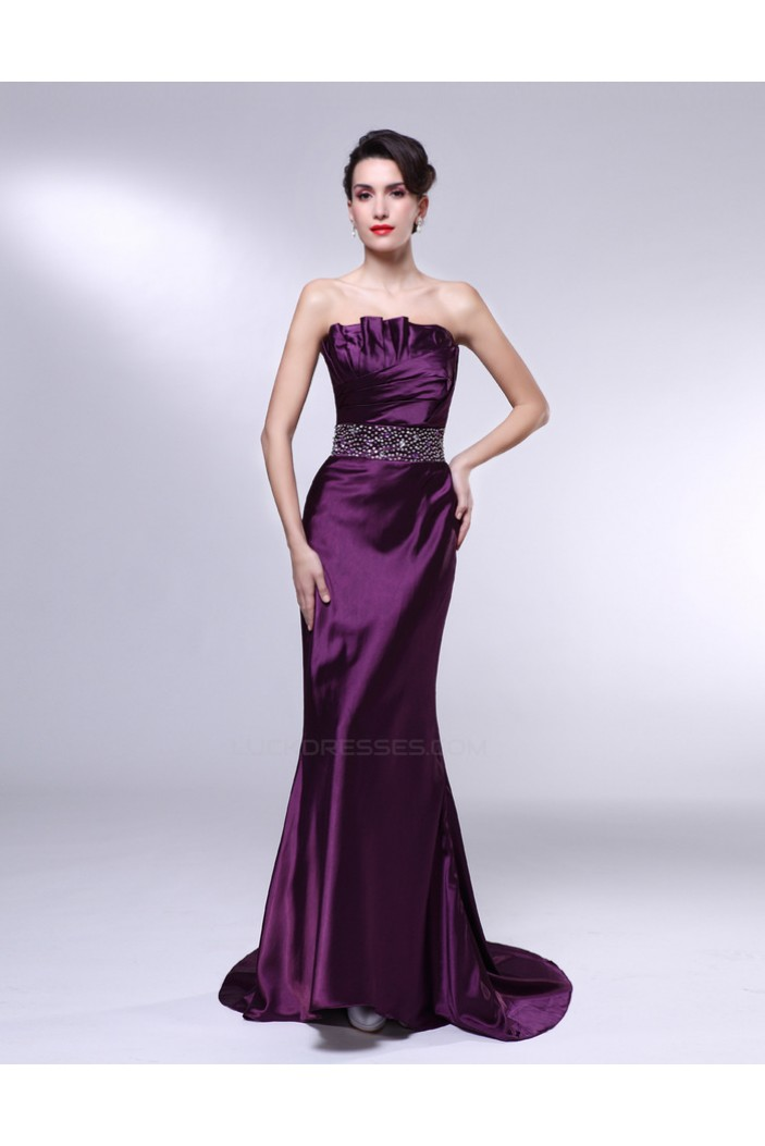 Trumpet Mermaid Strapless Beaded Long Purple Prom Evening