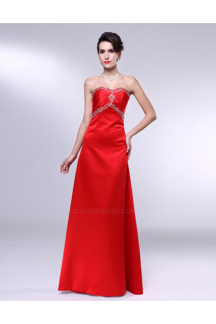 A-Line Beaded Long Red Prom Evening Formal Dresses ED011008