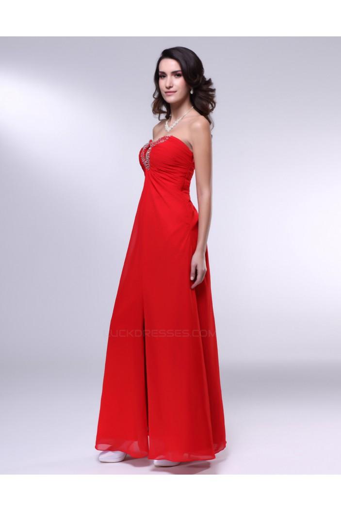 Sheath/Column Sweetheart Split-Front Beaded Long Red Chiffon Prom Evening Formal Dresses ED011012