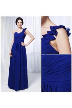 A-Line One-Shoulder Long Blue Chiffon Prom Evening Formal Dresses ED011013