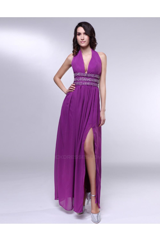 9df04de04e6 A-Line Halter Beaded Split-Front Long Purple Chiffon Prom Evening Formal  Dresses ED011017