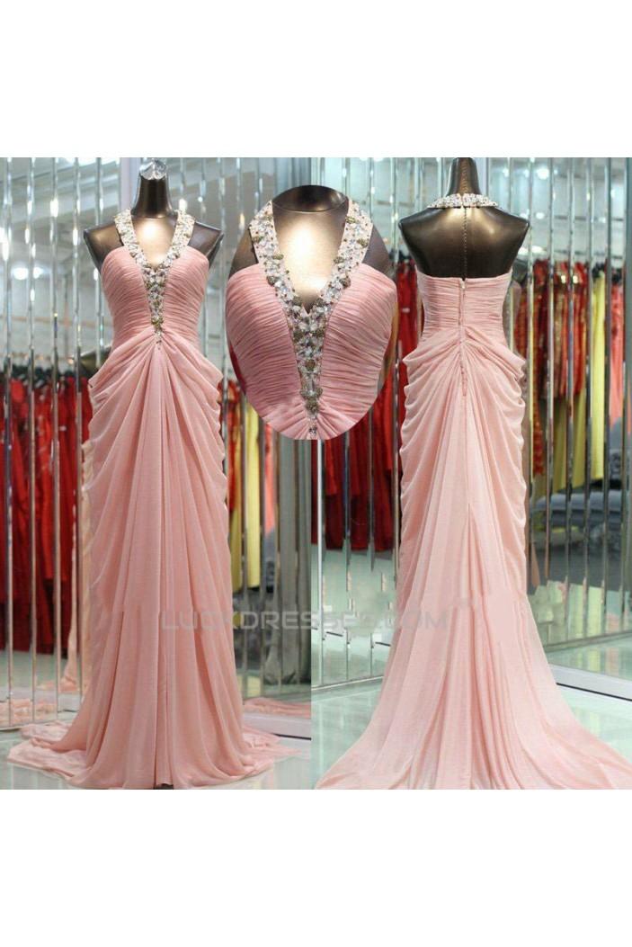 Sheath/Column Halter Beaded Long Pink Chiffon Prom Evening Formal Dresses ED011040