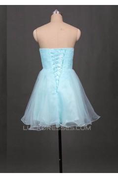 A-Line Beaded Strapless Short Blue Prom Evening Formal Dresses ED011052
