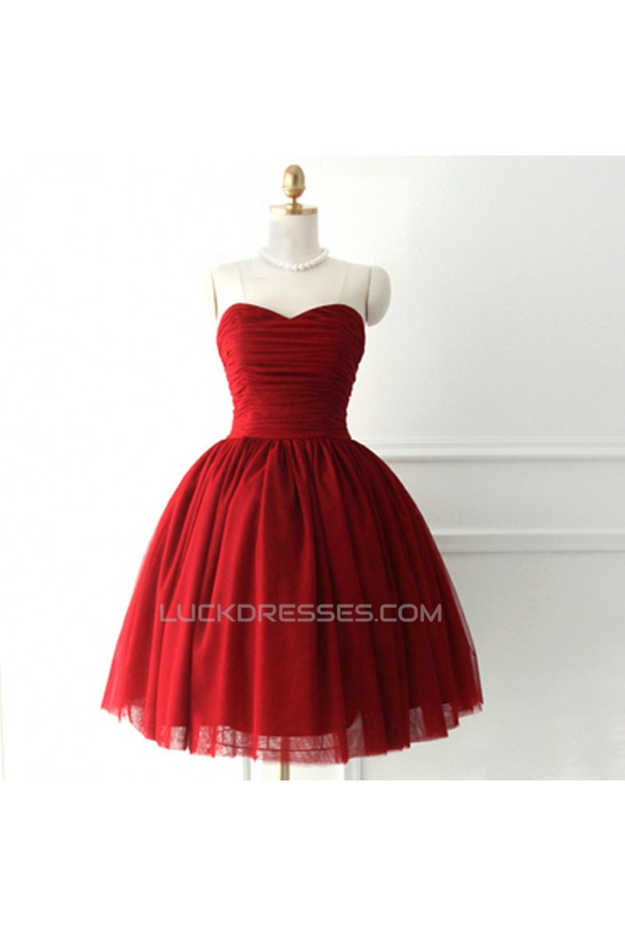 Short/Mini Sweetheart Red Tulle and Satin Prom Evening Formal Cocktail Dresses ED011063