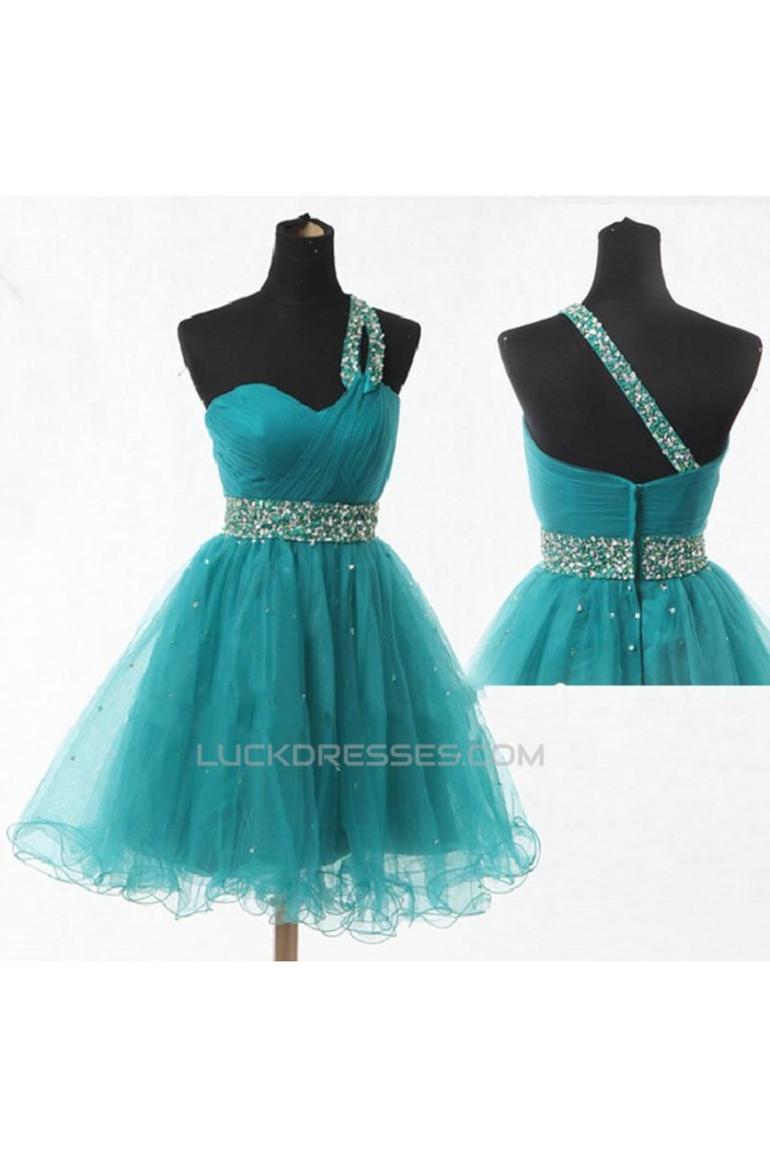 A-Line One-Shoulder Beaded Tulle Prom Evening Formal Dresses ED011070