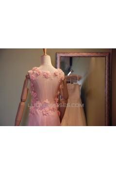 A-Line V-Neck Long Pink Chiffon Prom Evening Formal Dresses ED011072