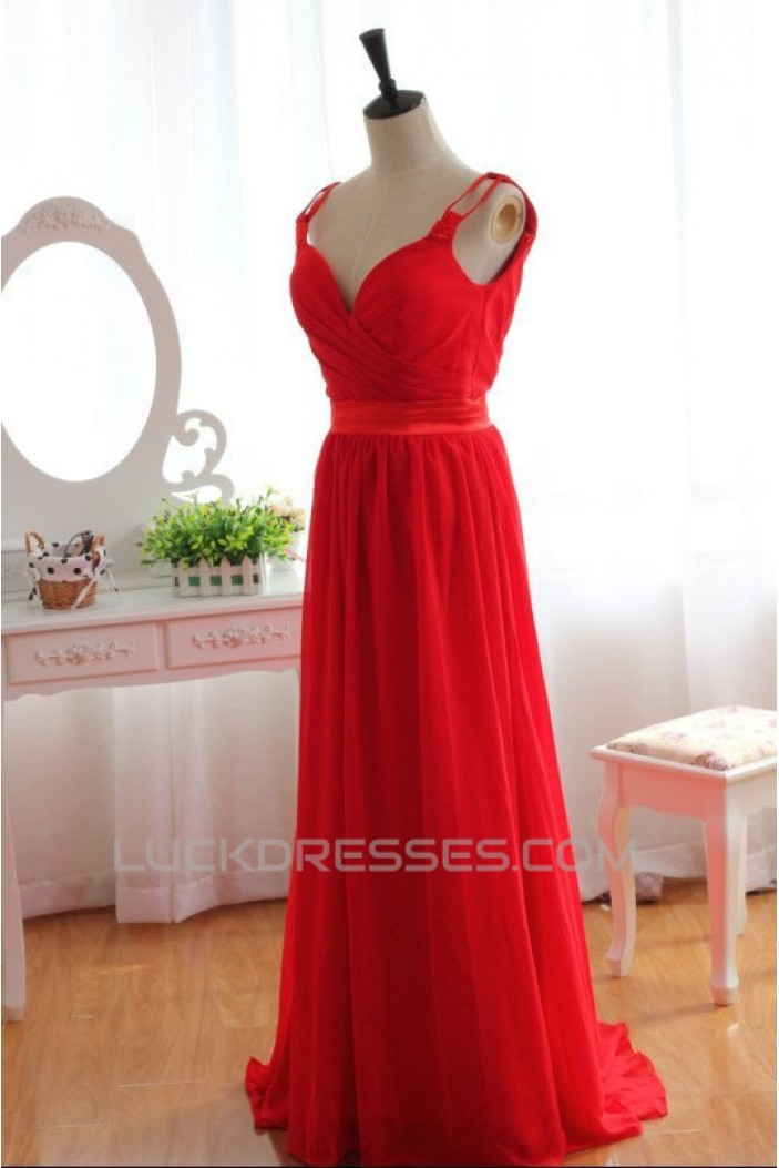 A Line Long Red Chiffon Prom Evening Formal Dresses Ed011079