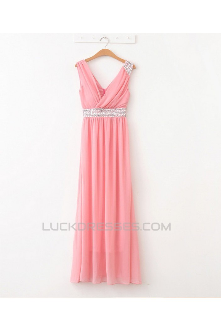 A-Line V-Neck Beaded Long Chiffon Prom Evening Formal Dresses ED011086