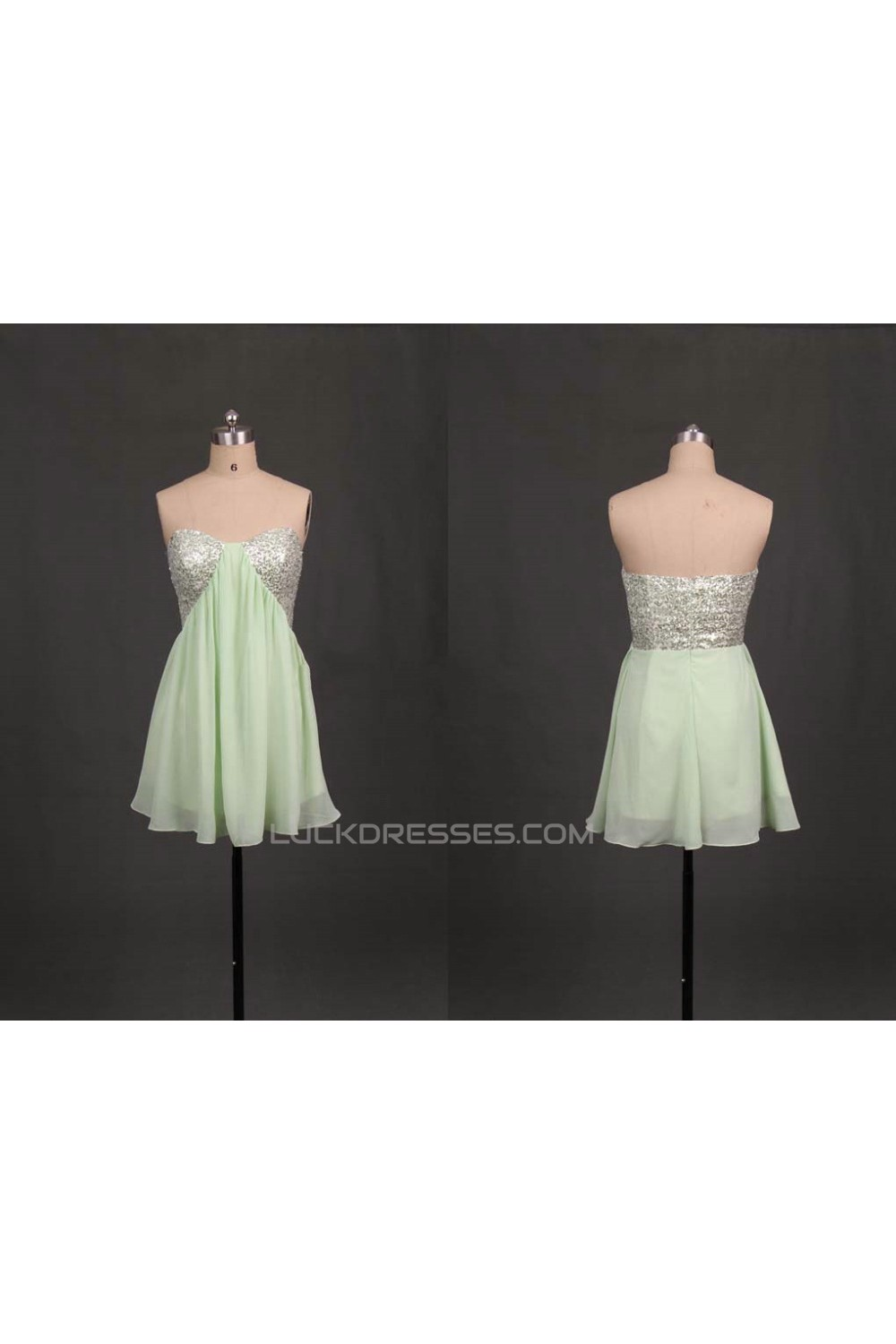 452e71ce84e A-Line Sweetheart Sequins Short Chiffon Prom Evening Formal ...