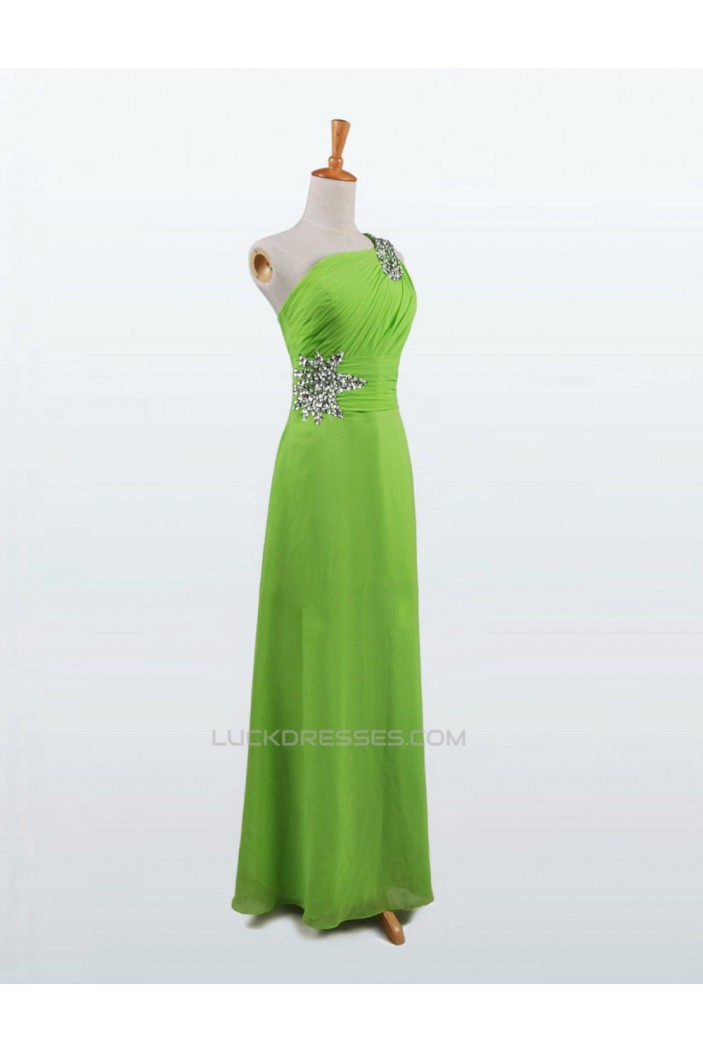 A-Line One-Shoulder Beaded Long Chiffon Prom Evening Formal Dresses ED011120