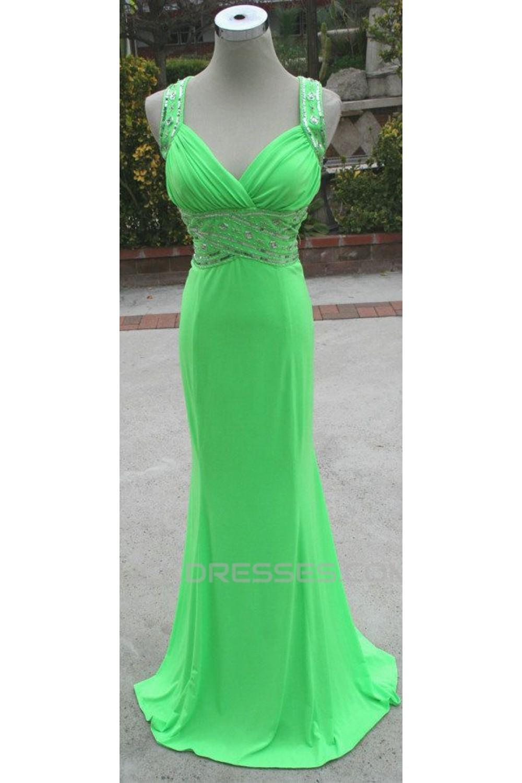 Trumpet Mermaid Beaded Long Green Chiffon Prom Evening