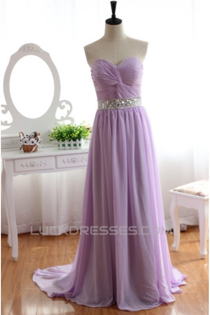 A Line Sweetheart Beaded Long Chiffon Prom Evening Formal