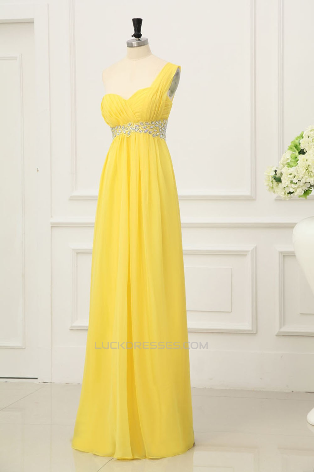 ed31262ccec8a Empire One-Shoulder Beaded Long Yellow Chiffon Prom Evening ...