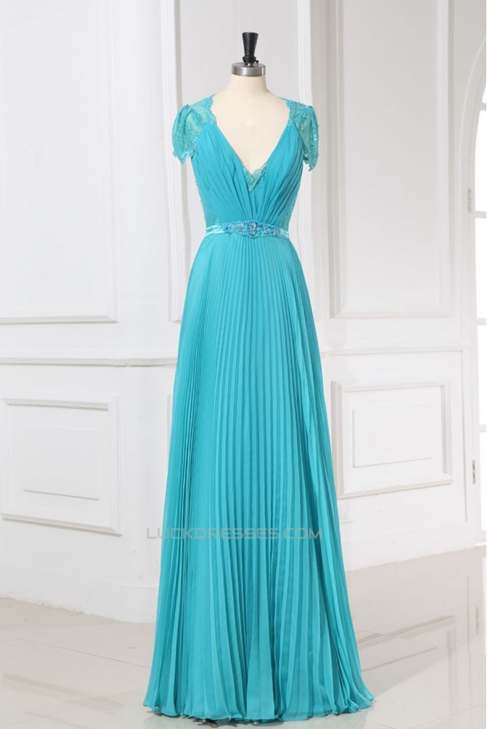 A-Line V-Neck Cap-Sleeve Beaded Long Lace and Chiffon Prom Evening Formal Dresses ED011158