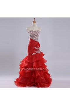 Trumpet/Mermaid Sweetheart Beaded Ruffle Long Red Organza Prom Evening Formal Dresses ED011179