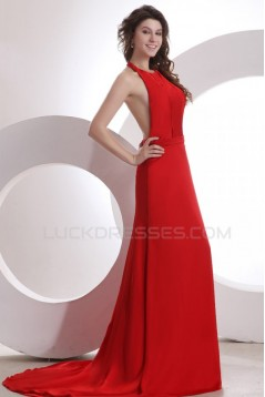 A-Line Halter Long Red Chiffon Prom Evening Formal Party Dresses ED010118
