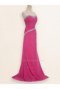 A-Line Sweetheart Beaded Long Chiffon Prom Evening Formal Dresses ED011183