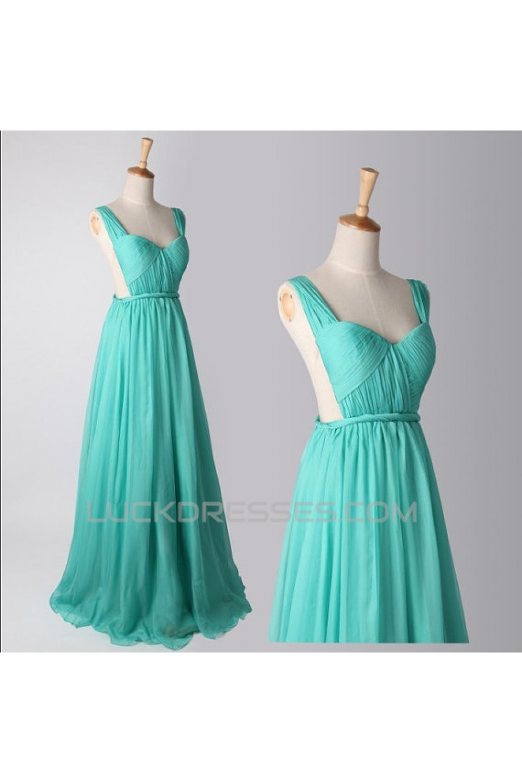 b75ce0c189 A-Line Straps Sleeveless Long Chiffon Prom Evening Formal Dresses ...
