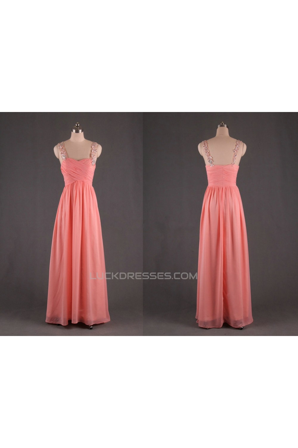 5728d95f00 A-Line Straps Sleeveless Beaded Long Pink Chiffon Prom Evening Formal  Dresses ED011187
