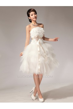 Strapless Short White Beaded Prom Evening Formal Dresses ED011225