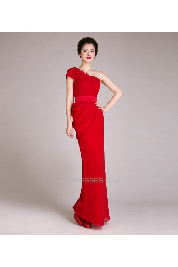 Sheath One-Shoulder Long Red Chiffon Prom Evening Formal Dresses ...