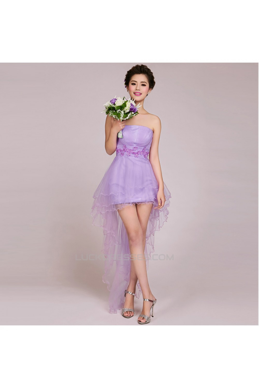 dc570a42bcfb High Low Strapless Short Tulle Prom Evening Formal Bridesmaid ...