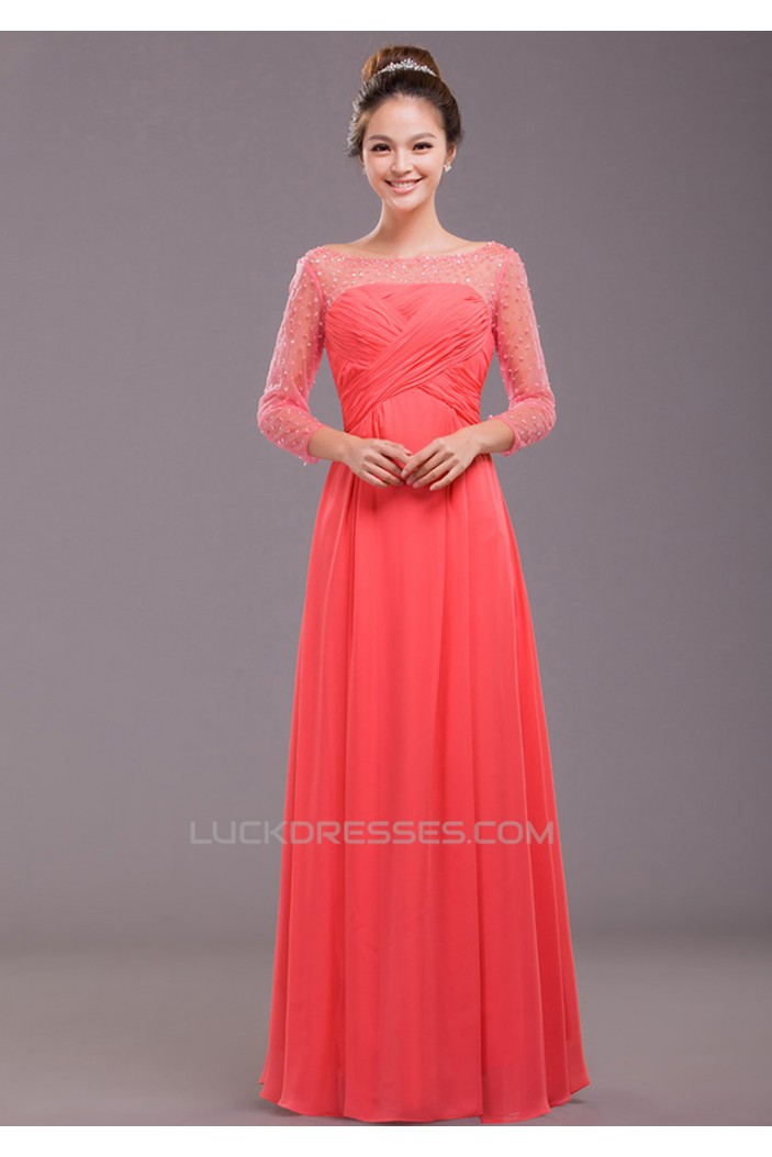 A Line 3 4 Sleeve Beaded Long Chiffon Prom Evening Formal