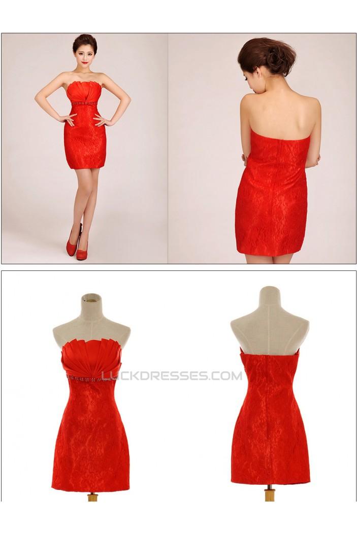 Short/Mini Strapless Beaded Lace Prom Evening Formal Dresses ED011263