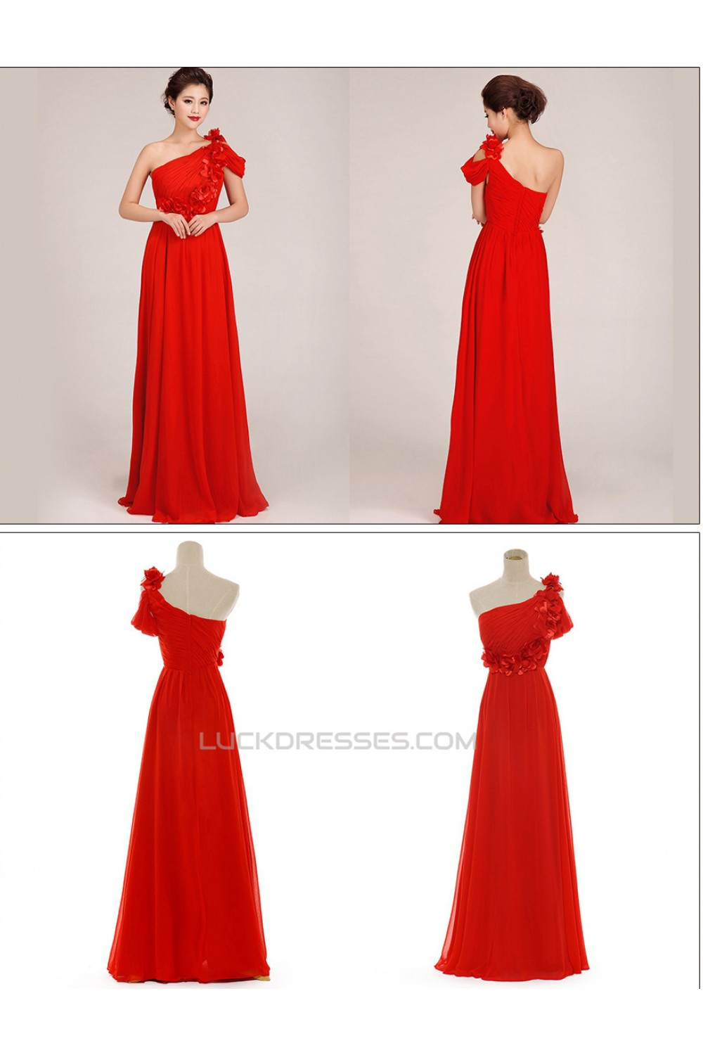 A-Line One-Shoulder Long Red Chiffon Prom Evening Formal Dresses ...