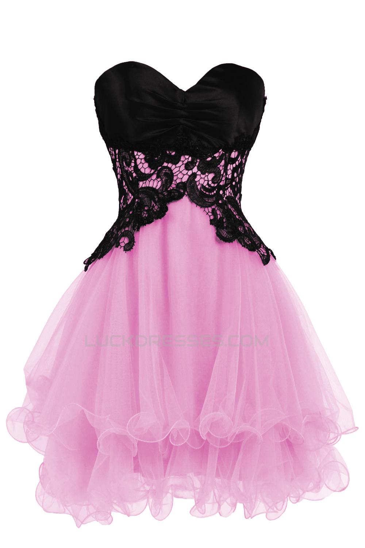 Modest Sweetheart Short Black Blue Prom Evening Cocktail Dresses ...