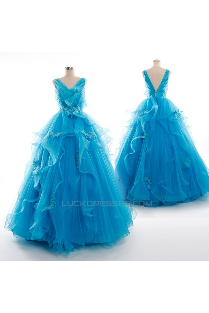 Long Blue V-Neck Tulle Prom Evening Formal Dresses ED011268