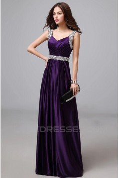 A-Line Beaded Long Purple Prom Evening Formal Dresses ED011285