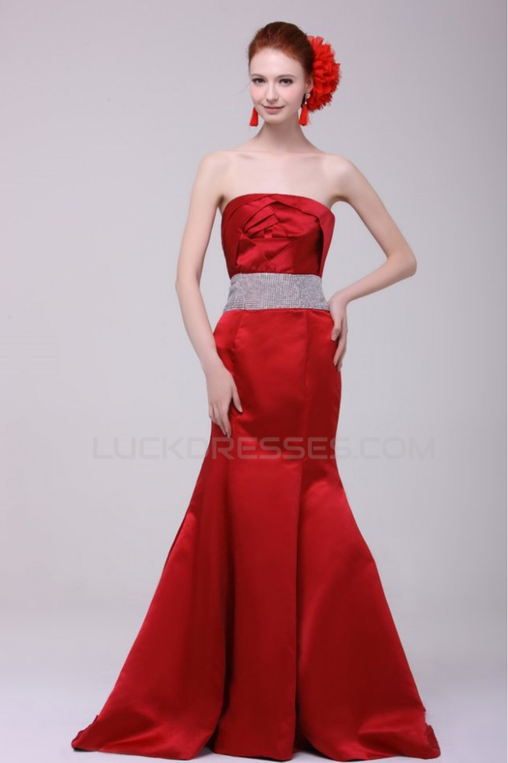 Trumpet Mermaid Strapless Long Red Prom Evening Formal