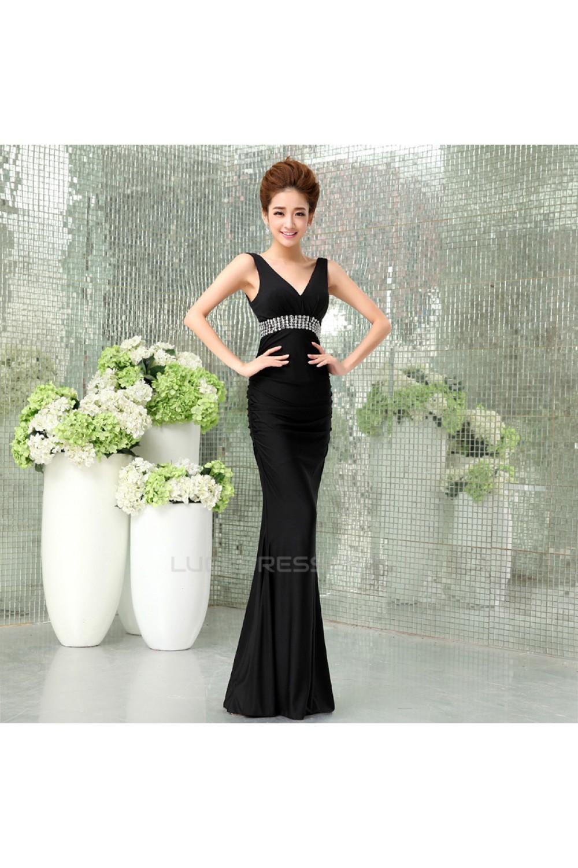 d665817e3f Trumpet/Mermaid V-Neck Beaded Long Black Prom Evening Formal Dresses  ED011293