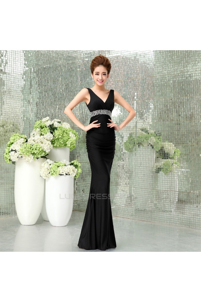Trumpet/Mermaid V-Neck Beaded Long Black Prom Evening Formal Dresses ED011293