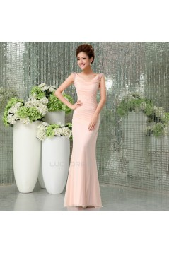 Trumpet/Mermaid Beaded Long Prom Evening Formal Dresses ED011294