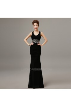 Trumpet/Mermaid Beaded Long Prom Evening Formal Dresses ED011295