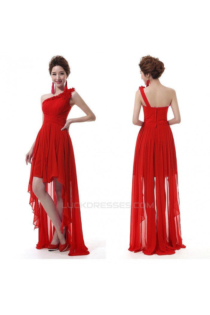 High Low One-Shoulder Short Red Chiffon Prom Evening Formal Dresses ED011299