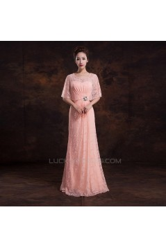 Elegant Long Pink Lace Beaded Prom Evening Formal Dresses ED011303