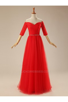 A-Line Half Sleeve Off-the-Shoulder Long Red Tulle Prom Evening Formal Dresses ED011309