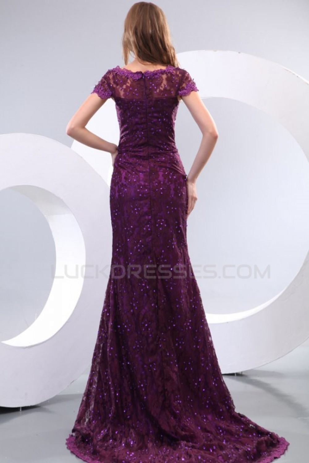 f607919084cf7 Trumpet/Mermaid Long Purple Lace Prom Evening Formal Party Dresses ED010131