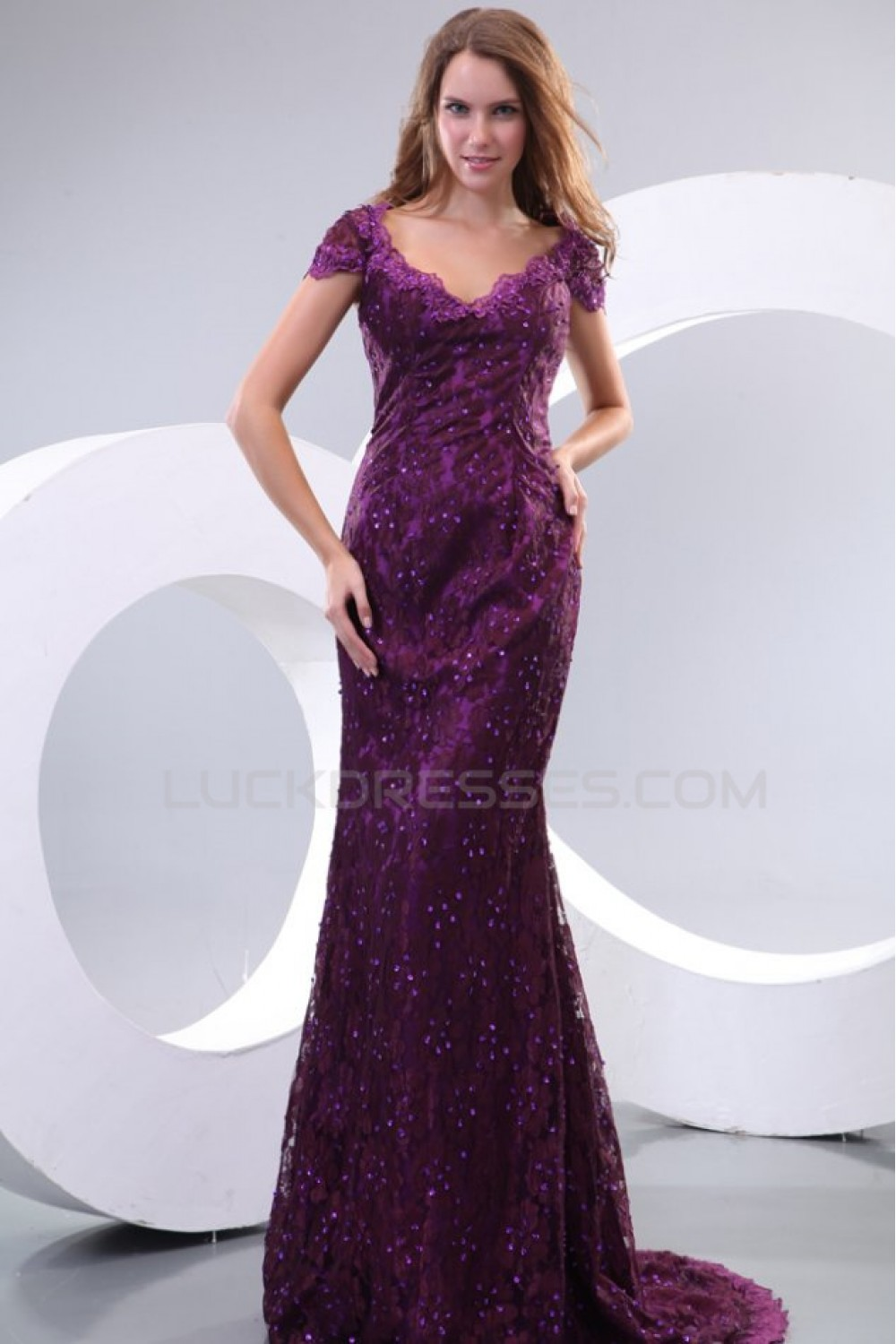 7955ac250c654 Trumpet/Mermaid Long Purple Lace Prom Evening Formal Party ...