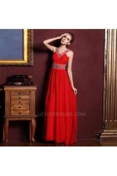 A-Line V-Neck Beaded Long Red Chiffon Prom Evening Formal Dresses ED011316