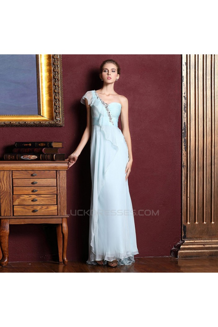 Sheath/Column One-Shoulder Beaded Long Chiffon Prom Evening Formal Dresses ED011326